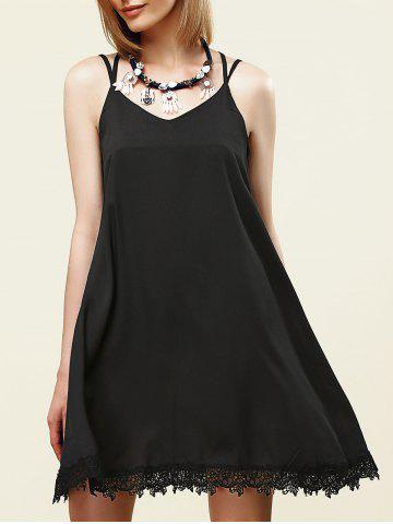 Stylish Strappy Lace Embellished Dress For Women - Black - S
