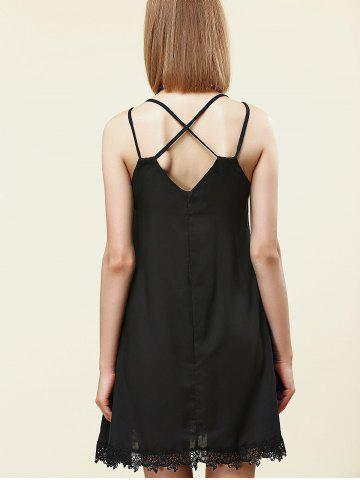 Store Stylish Strappy Lace Embellished Dress For Women - S BLACK Mobile