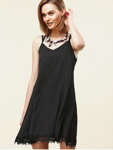 Outfits Stylish Strappy Lace Embellished Dress For Women - S BLACK Mobile