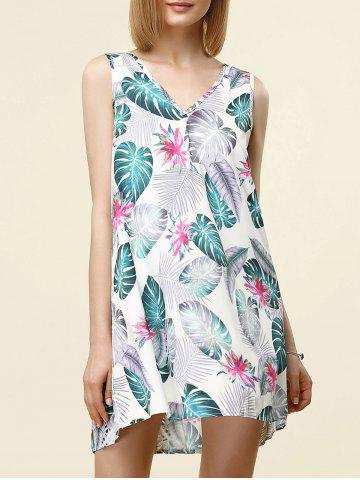 Outfits Stylish V-Neck Sleeveless Print Cut Out Dress For Women