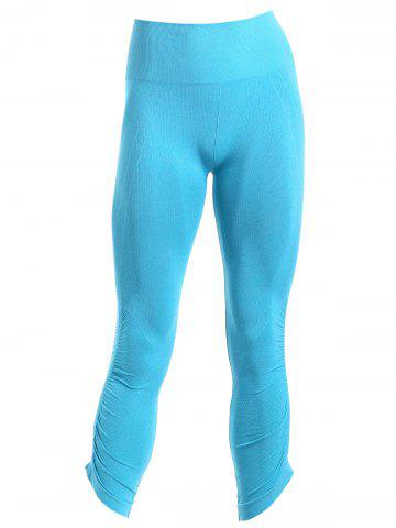 Cheap Sporty Solid Color Capri Pants For Women - M BLUE Mobile