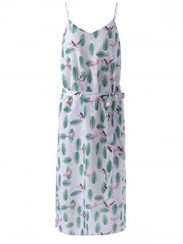 Cheap Spaghetti Straps Condole Belt Dress with Feather Print