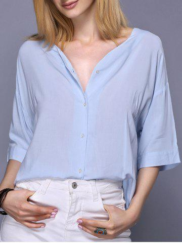 Outfits Trendy 3/4 Sleeve V-Neck Loose-Fitting Pure Color Women's Blouse