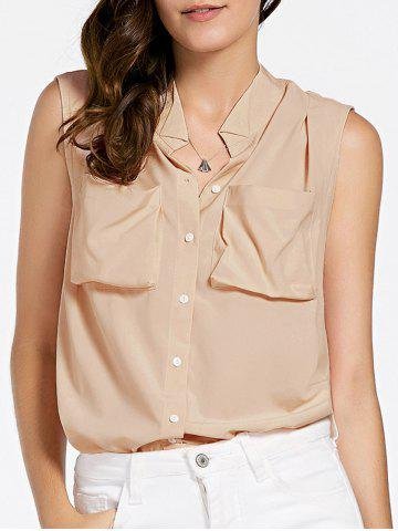 Sale Chic V-Neck Sleeveless Pocket Design Blouse For Women