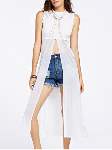 Outfits Stylish Spliced See-Through Split Tank Top For Women