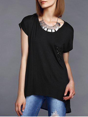 Unique Stylish Round Neck High Low Hem Stud Embellished Long T-Shirt For Women