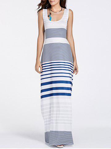 U Neck Back Cut Out Striped Maxi Dress - Blue - M