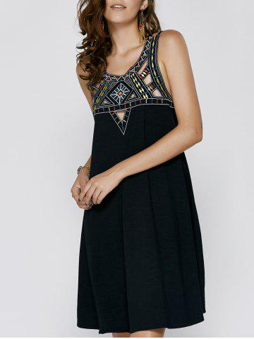 Shops Vintage Sleeveless Hollow Out Rhinestone Design Women's Cami Dress BLACK XL