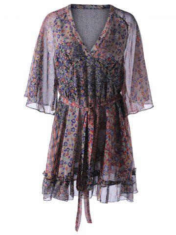 Sale Fashionable Chiffon Printing V-Neck Dress For Women COLORMIX S
