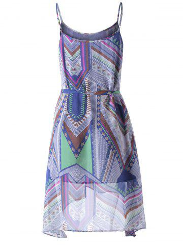 New Bohemian Spaghetti Straps Belt Dress For Women - S COLORFUL GEOMETRIC Mobile