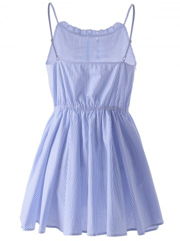 Best Casual Striped Spaghetti Straps Dress - S BLUE AND WHITE Mobile