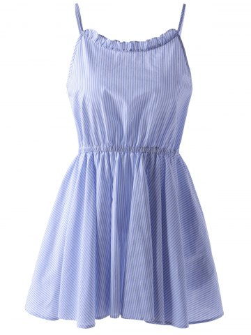 Unique Casual Striped Spaghetti Straps Dress - S BLUE AND WHITE Mobile