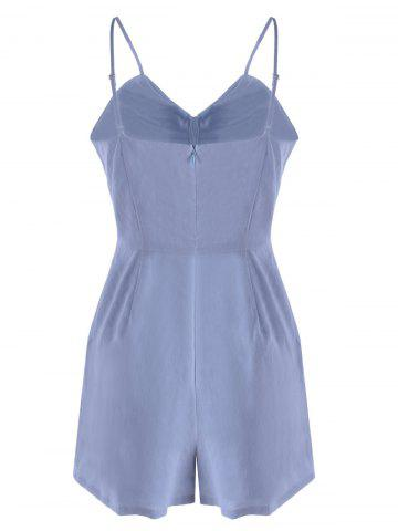 Discount Spaghetti Strap Cut Out Romper - XL LIGHT BLUE Mobile