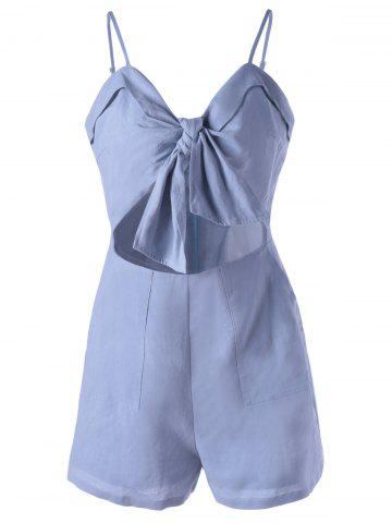 Chic Spaghetti Strap Cut Out Romper - XL LIGHT BLUE Mobile