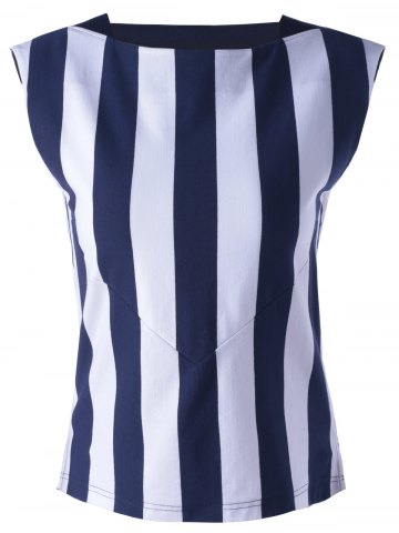 Outfit Striped Contrast Tank Top - L STRIPE Mobile