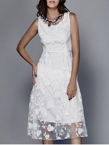 Outfit Guipure Embroidery White Dress WHITE L