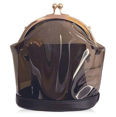 Online Stylish Kiss Lock and Transparent Design Crossbody Bag For Women