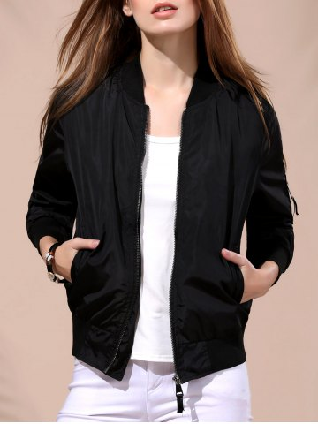 Chic Stylish Stand Collar Solid Color Long Sleeve Bomber Jacket