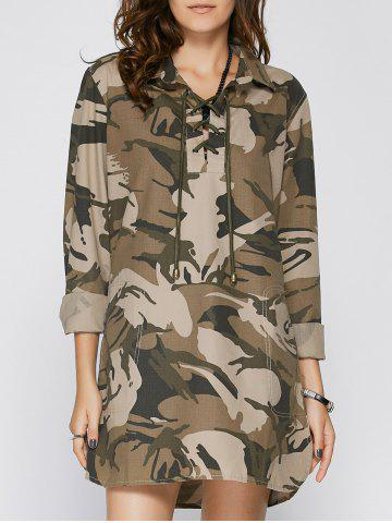 Long Sleeve Lace Up Camo Long Tunic Shirt Dress - Camouflage - S
