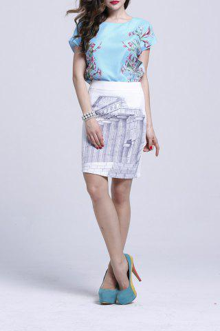 Online Print T-Shirt and Building Pattern Skirt Twinset