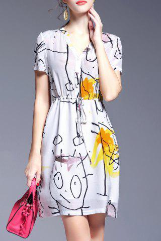 Online Belted Single-Breasted Printed Dress