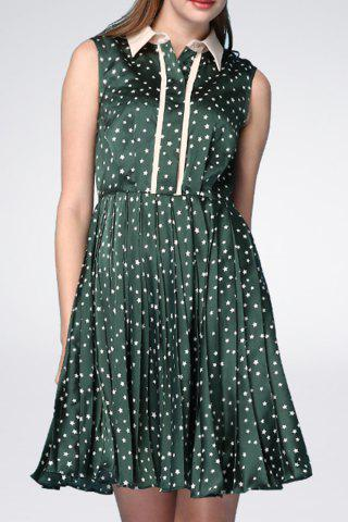 Affordable Stars Pattern Pleated A Line Dress