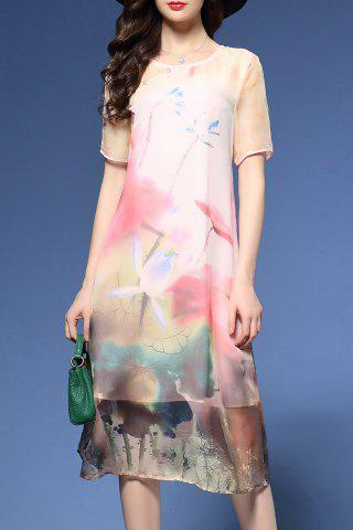 Fashion Buttoned Printed Midsummer Dress
