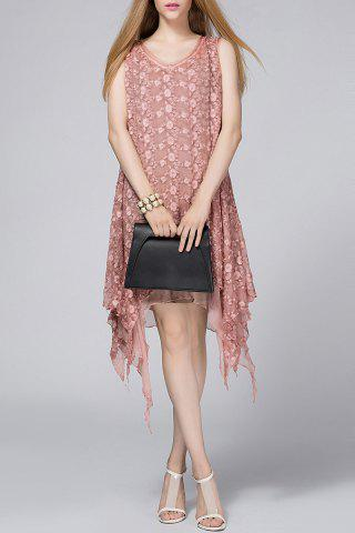 Affordable V-Neck Solid Color Flower Embroidery Dress