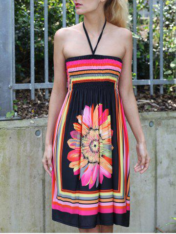 Chic Halter Sleeveless Bohemian Floral Summer Dress - 2XL BLACK Mobile