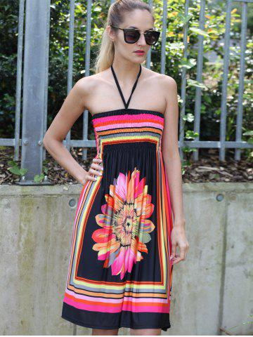 Hot Halter Sleeveless Bohemian Floral Summer Dress - L BLACK Mobile