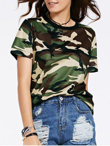 Hot Fashionable Round Neck Short Sleeve Camouflage Print Mesh Design T-Shirt For Women