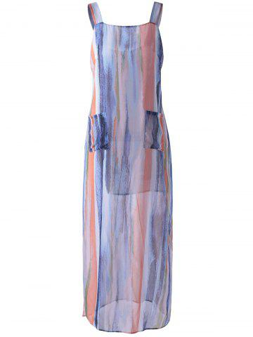 Outfit Striped Maxi Beach Slip Dress - S BLUISH VIOLET Mobile