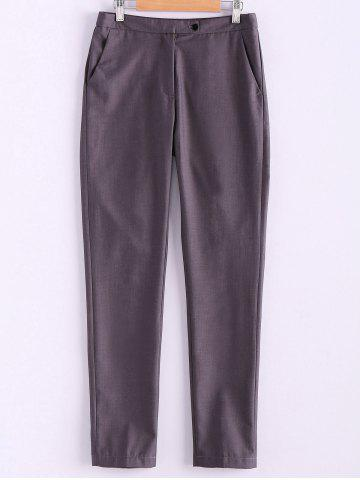 Outfit Simple Style Narrow Feet Solid Color High Waisted Slimming Women's Pants - L GRAY Mobile