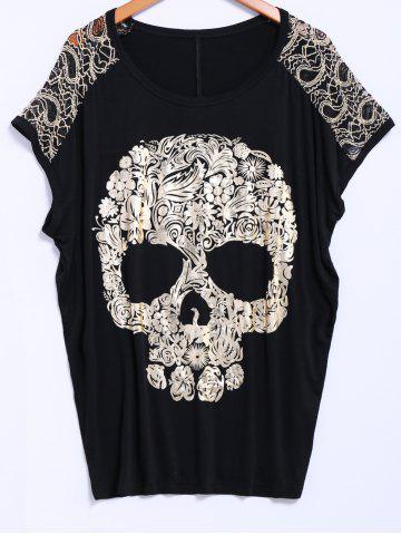 Street Style Lace Scoop Neck Loose-Fitting Short Batwing Sleeve Splicing Skull Pattern Women's T-Shirt - Black - One Size