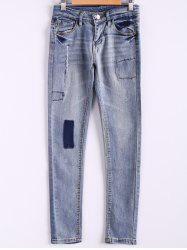 Bleach Wash Pockets Slimming Pencil Jeans - LIGHT BLUE