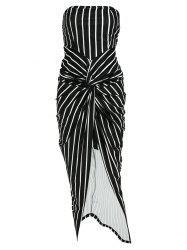 Striped High Slit Strapless Bodycon Dress - BLACK
