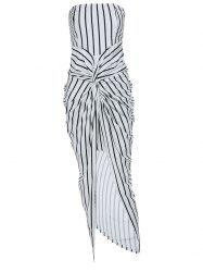 Striped High Slit Strapless Tube Midi Bodycon Dress