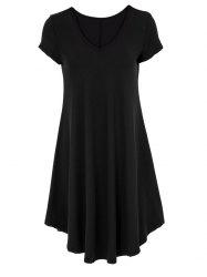 V-Neck Ruffled Casual Tunic Dress With Sleeves - BLACK