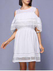 Graceful Jewel Neck Cold Shoulder Flounce Dress For Women -