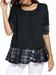 Sweet Round Neck Half Sleeve Bowknot Design Spliced Women's Chiffon Blouse - BLACK