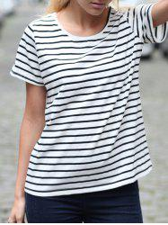 Casual Cuffed Sleeve Striped Pullover T-Shirt For Women - STRIPE XL