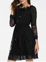 Elegant Jewel Neck Long Sleeves Lace Up Dress For Women