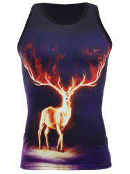 Personality 3D Round Neck Deer Pattern Tank Top For Men -
