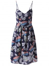 Fashionable Printed Spaghetti Straps Dress For Women - PURPLISHBLUE + WHITE S
