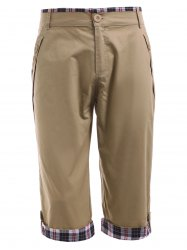 Zipper Fly Crimping Design Checked Splicing Capri Pants For Men - DARK KHAKI 2XL