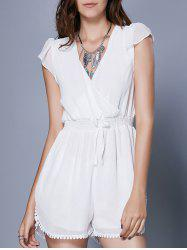 Alluring Short Sleeve Plunging Neck Women's Romper - WHITE L