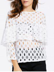 Women's Chic Hollow Out Laced Jewel Neck Blouse