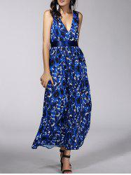 Fashionable Plunging Neck Floral Print Belted Dress For Women