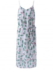 Spaghetti Straps Condole Belt Dress with Feather Print -