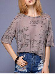 Stylish Half Sleeve Round Neck Letter Print Women's Blouse -